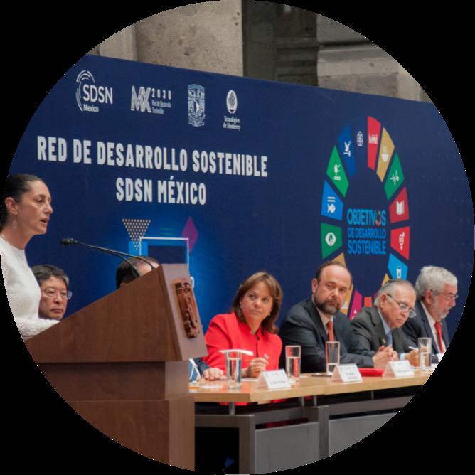 Claudia Sheinbaum, Alfonso Romo y Enrrique Graue en la ignauguración de la Red de Desarrollo Sostenible MX2030, SDSN México, en el Palacio de Minería